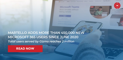 Martello Adds More than 450,000 New Microsoft 365 Users Since June 2020 (CNW Group/Martello Technologies Group)