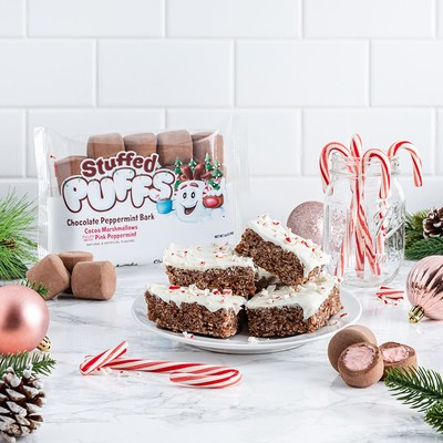 With the chocolate inside the marshmallow, Chocolate Peppermint Bark tastefully adding a chocolate peppermint twist to any dessert or treat to keep the celebration going all season long.