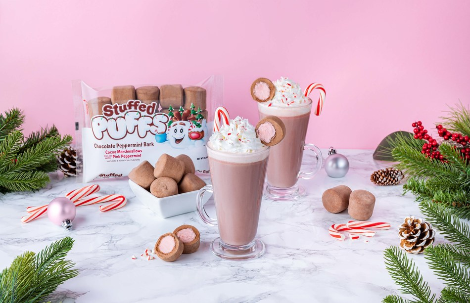 Forget the hot cocoa mix and use this Stuffed Puffs® marshmallow hack instead: Just drop two Stuffed Puffs® in a glass of warm milk and enjoy the best hot cocoa ever.