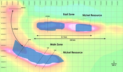 Figure 1 - Plan view of Main Zone & East Zone Nickel Resources, Crawford Nickel-Cobalt Sulphide Project, Ontario (CNW Group/Canada Nickel Company Inc.)