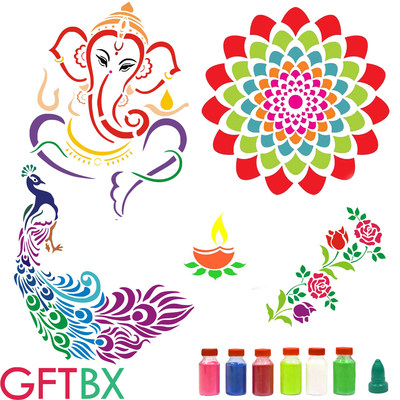 Diwali Rangoli Stencils Combos with Colors by GFTBX