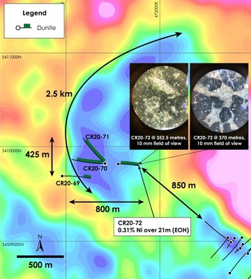 Figure 1 – West Zone Discovery Holes CR20-69 through CR20-72 over top of gravity gradient (Crawford Township airborne gravimetric survey completed in 2018) (CNW Group/Canada Nickel Company Inc.)