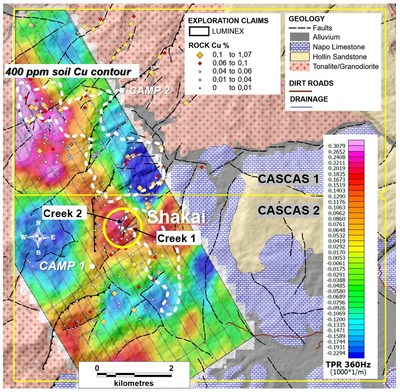 Figure 2. Property-scale ZTEM geophysics and soil sample grid geochemistry overlain on simplified geology. (CNW Group/Luminex Resources Corp.)