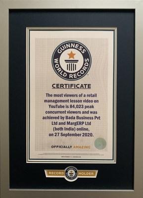 MARG ERP Limited awarded Guinness World Record holder