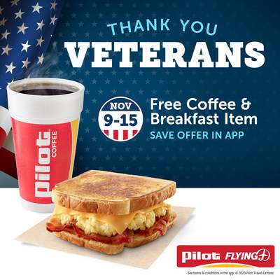 From Nov. 9-15, 2020, all veterans are invited to enjoy a free Veterans Day Breakfast Combo at participating U.S. Pilot and Flying J Travel Centers. The week-long special offer is available through the Pilot Flying J app and is part of Pilot Company's Veterans Day celebrations to recognize and thank all who served.