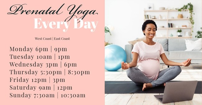 Daily Livestream Prenatal Yoga Classes offered at Mommymoon.com