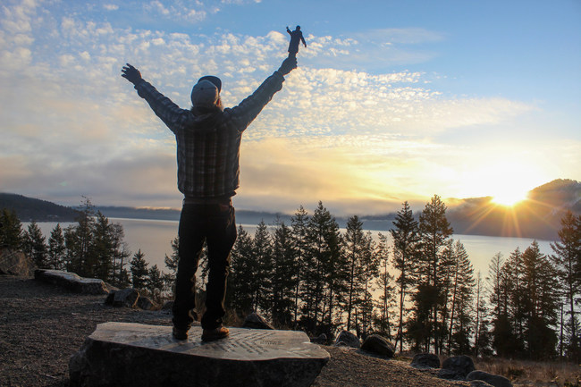 """Dunc Appreciating the Sunrise with """"Ted"""" at Farragut State Park, Idaho."""