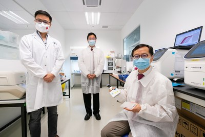Members of the team involved in the development of a non-invasive blood-based test for gastric cancer (from right): Professor Jimmy So, Head and Senior Consultant with the NUH Division of General Surgery (Upper Gastrointestinal Surgery), Dr Calvin Koh, Consultant with the NUH Division of Gastroenterology and Hepatology and Dr Zhou Lihan, Co-founder & CEO of MiRXES.