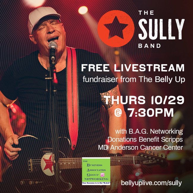 The Sully Band will perform a live, virtual fundraiser at the Belly Up in San Diego on Thursday, October 29 at 7:30pm. The concert can be viewed at bellyuplive.com/sully/ and is free to watch.