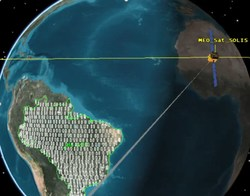 Earth imaging satellite collecting data over Brazil.