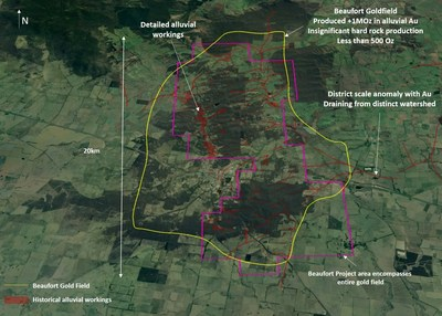 Figure 2 – Oblique view, looking north on the Beaufort gold field which historically produced over an estimated 1Moz from alluvial production. The image depicts the areas, which are known to have been historically exploited for alluvial gold. Of interest are the facts that; 1) the Beaufort gold field is an isolated and clearly defined area of production within the district and; 2) the alluvial production fields are concentrated around a central north-south trending ridge, which is formed by a geological anticline and which the company believes is the source of the alluvial gold deposition. (CNW Group/E79 Resources Corp.)