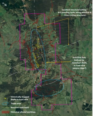 Figure 3 - Beaufort license, map view showing the structural framework, the alluvial workings, the historically mapped shafts and the target areas which have been designated by the company. What is distinct is the distribution of alluvial workings in relation to the historically mapped shafts and the structures which trend north-south along the axis of the fold. The setting is strikingly similar to a number of significant deposits in Victoria. (CNW Group/E79 Resources Corp.)