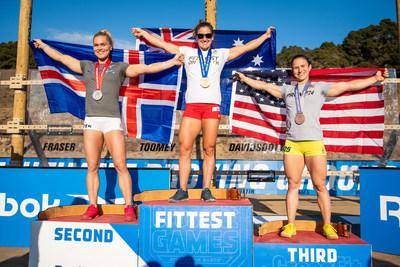 Australian Tia-Clair Toomey, Iceland's Katrin Davidsdottir, and American Kari Pearce finish first, second, and third in the 2020 Reebok CrossFit Games
