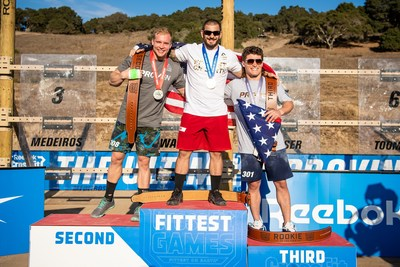 Americans Mat Fraser, Samuel Kwant, and Justin Medeiros finish first, second, and third in the 2020 Reebok CrossFit Games