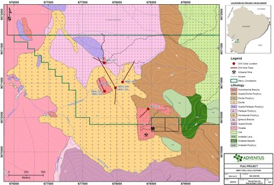 Figure 1: Drill Hole Location Map, Mercy Concession – Pijili Project (CNW Group/Adventus Mining Corporation)