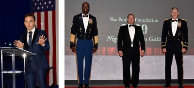 (Left) Tommy McFly, DC media personality emcees the PenFed Foundation Night of Heroes Gala. (Right) David Clark, PenFed Foundation Director of Outreach; James Schenck, PenFed President/CEO and CEO, PenFed Foundation and retired U.S. Army Gen. John Nicholson, President, PenFed Foundation.