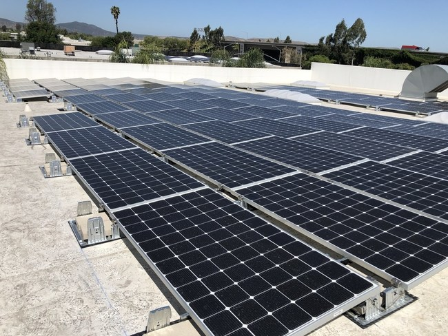 Solar panels installed on the roof of Crazy Industries San Diego CA manufacturing plant.