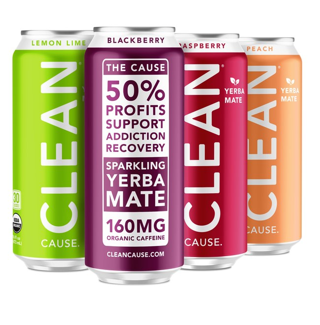 "CLEAN Cause is an Austin-based beverage company with a giveback program that donates 50 percent of its profits to support recovery from alcohol and drug addiction via ""CLEAN Kickstarts"" sober living scholarships. CLEAN Cause beverages are a sparkling, organic, Yerba Mate with 160mg of Better Caffeine™ for longer lasting, sustained energy without the crash or jitters of coffee or energy drinks."