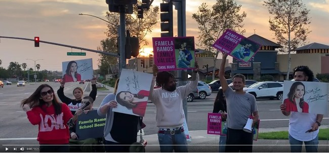 Famela Ramos School Board Candidate and Supporters Respond to Hate Rally with Music and Dancing