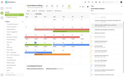 Calendar View system in Swit Project Box organizing/showcasing tasks by calendar days/months. Task graphs (colored bars on the calendar) are clickable and they redirect users to the detailed task page. Swit's iconic Right Panel showcasing the same tasks in a list view.
