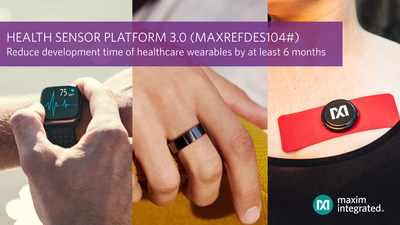 Maxim Integrated's Health Sensor Platform 3.0 (HSP 3.0), also known as the MAXREFDES104# reference design, reduces development time of healthcare wearables by at least six months. The wrist form factor reference design is ready to collect blood oxygen, ECG, heart rate, body temperature and activity data.