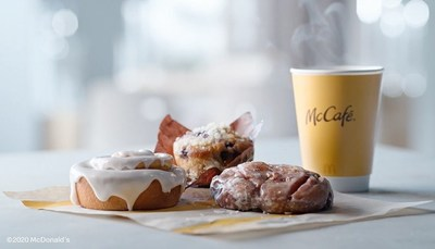 McDonald's is treating customers to a Apple Fritter, Blueberry Muffin and Cinnamon Roll for FREE at participating restaurants nationwide while supplies last. To redeem, simply purchase any size McCafé Premium Roast Coffee or Iced Coffee on McDonald's App from November 3 until November 9*.
