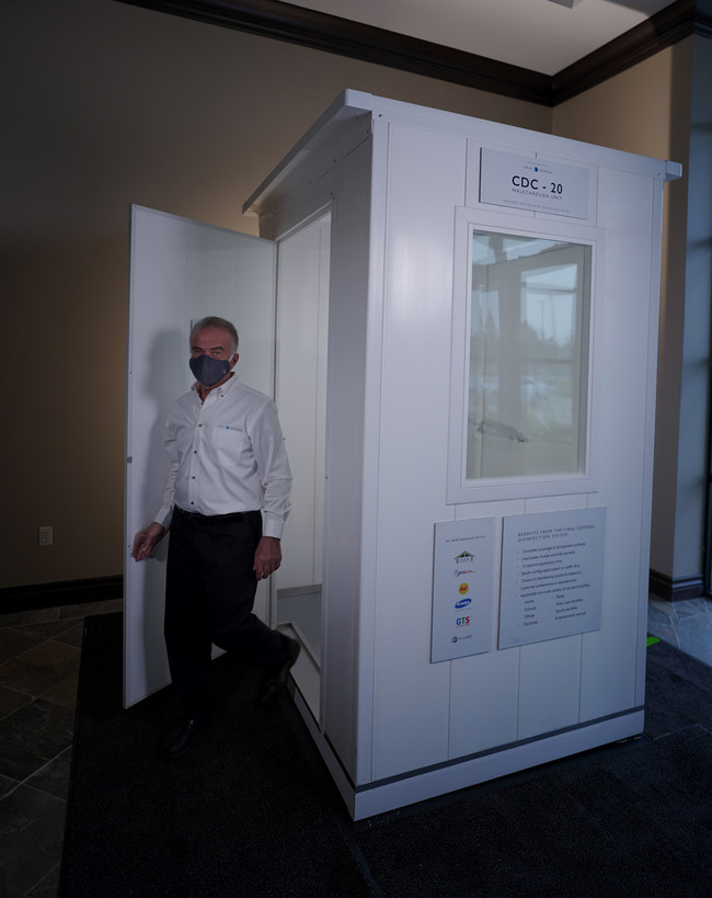 Viral Defense walk-through booths utilize a fine mist of nano-particles to safely deactivate viruses on people minimizing the germs they bring into a venue. There is no residual wetness.