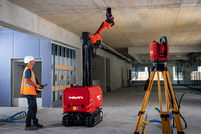 Hilti Jaibot is steered by a remote control run by an operator to move from one location to the next. Once in drilling area, the Jaibot drills all holes within reach automatically.