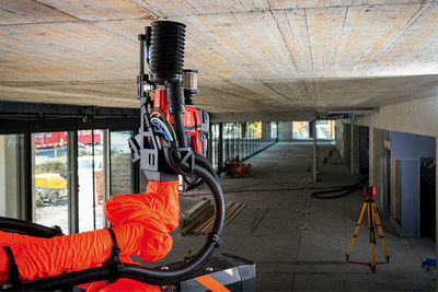 Hilti Jaibot is a semi-autonomous overhead ceiling drilling robot for mechanical, electrical and plumbing (MEP), and interior finishing  installation work.