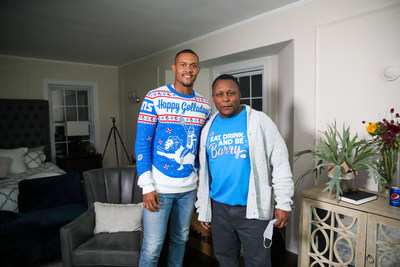 DETROIT, MICHIGAN - SEPTEMBER 29: Kenny Golladay and Barry Sanders pose during the Pepsi X Detroit Lions Made For Lions Watching Shoot on September 29, 2020 in Detroit, Michigan. (Photo by Scott Legato/Getty Images for Pepsi)