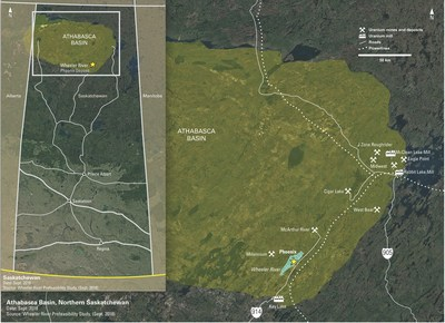 Figure 1: Location Map of Wheeler River Showing Existing Regional Infrastructure. (CNW Group/Denison Mines Corp.)