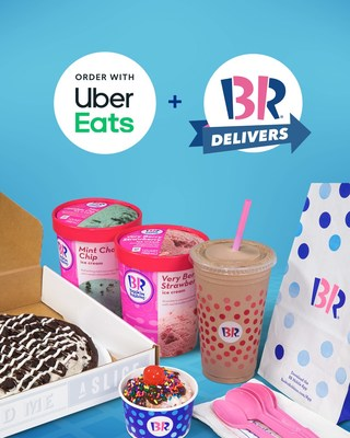 Baskin-Robbins scoops, shakes, sundaes, and more are now available for delivery through the Uber Eats app and UberEats.com.