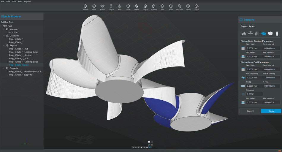 HP Universal Build Manager Powered by Dyndrite screenshot depicting a build for a SLM 500 machine with two propeller files imported as CAD data. Colored surface CAD data was used to automatically generate ribbon supports for this Laser Powder Bed Fusion process.