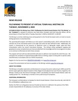 FILO MINING TO PRESENT AT VIRTUAL TOWN HALL MEETING ON TUESDAY, NOVEMBER 3, 2020 (CNW Group/Filo Mining Corp.)