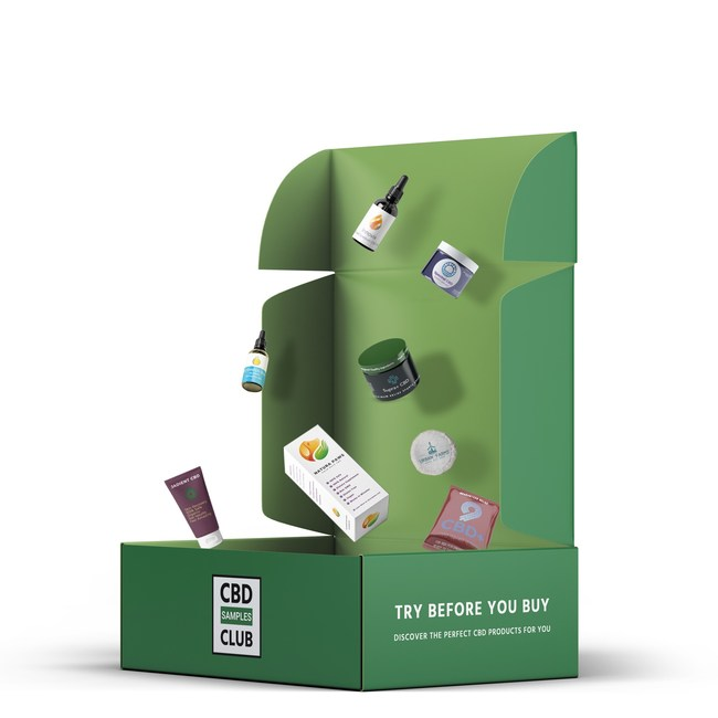 CBD subscription box filled with samples from leading brands.