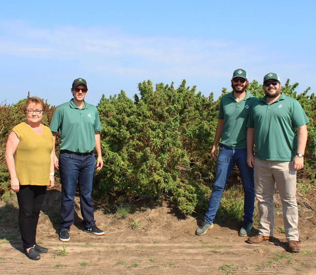 Green Point Research's fall harvest is Florida's largest hemp harvest in 80 years. L-R: Holly Bell, Director of Cannabis, State of Florida; David Hasenauer, CEO, Green Point Research; Jordan Pace, COO Green Point Research; Light Townsend, CLO Green Point Research