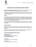 ShaMaran Atrush September Payment Received (CNW Group/ShaMaran Petroleum Corp.)