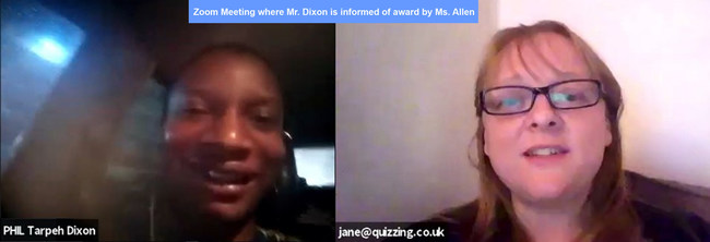 Zoom call where Mr. Dixon is informed of award by Ms. Allen