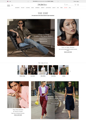 """""""The Edit"""" on saks.com features shoppable editorial content, including seasonal trend stories and influencer-curated product arrays"""