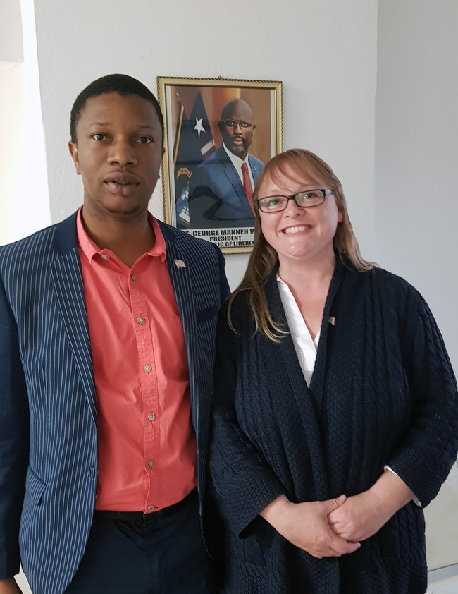 Phil Dixon and Jane Allen meeting at the Embassy of Liberia in London