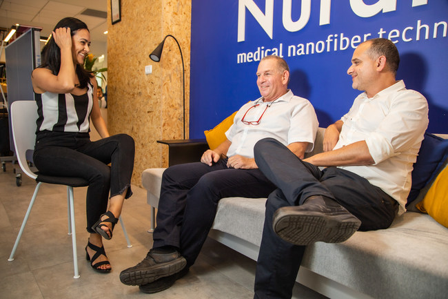 Nurami Medical management from right to left: Dr. Amir Bahar, co-founder, Clinical Manager and COO, Hannoch Marksheid, Co-CEO and Nora Nseir, co-founder, Co-CEO and CTO in their Haifa based facility. (PRNewsfoto/Nurami Medical)