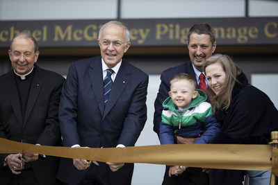 From left, Knights of Columbus Supreme Chaplain Archbishop William E. Lori, Supreme Knight Carl Anderson, Michael McGivney Schachle, Daniel Schachle and Michelle Schachle cut the ribbon on the Blessed Michael McGivney Pilgrimage Center.
