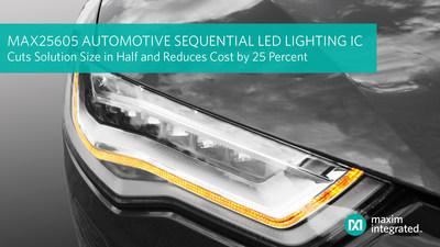 Maxim Integrated's MAX25605 automotive sequential LED lighting IC cuts solution size in half and reduces cost by 25 percent.