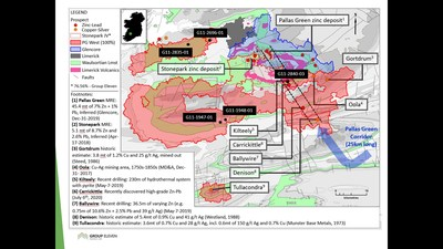 Exhibit 1. Location of New Drill Holes (Black Labels) at the 100%-owned PG West Project, Ireland (CNW Group/Group Eleven Resources Corp.)