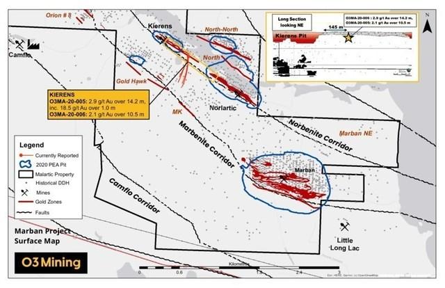 Figure 2 : Résultats de forage projet Marban (Groupe CNW/O3 Mining Inc.)