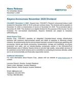Keyera Announces November 2020 Dividend (CNW Group/Keyera Corp.)
