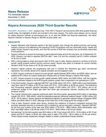Keyera Announces 2020 Third Quarter Results (CNW Group/Keyera Corp.)