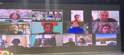Foreign journalists attend the interview via video link. [Photo: Chang Xufeng]