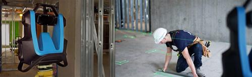 Le projecteur de plan de construction à l'échelle réelle. Le FramR et un travailleur en action (Groupe CNW/Mechasys)