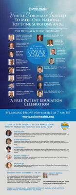 Nation's Top Spine Surgeons offer insight at the 2020 We've Got Your Back Virtual Gala at spinehealth.org Friday November 6 at 7pmEST